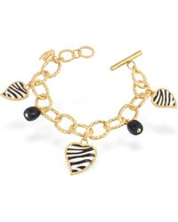 Just Cavalli Just Zebra Onyx and Enamel Heart Charms Toggle Bracelet - Metallic
