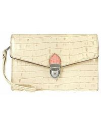 L.A.P.A. - Ivory Croco-embossed Leather Clutch - Lyst