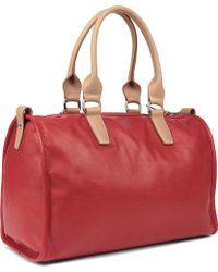 Longchamp Balzane Roots Leather Bowling Bag - Red