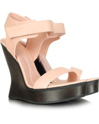 McQ by Alexander McQueen Pink Leather Platform Wedge Sandal - Lyst