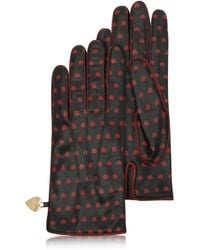 Moschino - Cheap and Chic Heartprinted Black Leather Gloves - Lyst