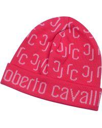 Roberto Cavalli - All Over Logo Brim Knit Wool Skull Cap - Lyst
