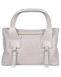 Roccobarocco - Logoed Plates Large Lilac Zip Leather Satchel Bag - Lyst