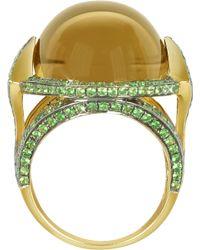 Sho London 18k Gold V-seal Smoky Quartz Feodora Ring - Metallic