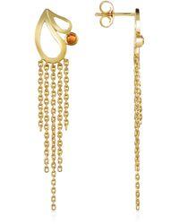 Sho London | Mari Splash Fringe Earrings W/ White Crystal | Lyst