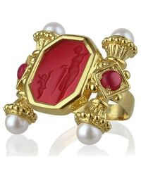 Tagliamonte - Classics Collection - Pearls & Rubies 18k Gold Ring - Lyst