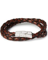 Tateossian Double-Wrap Scoubidou Leather Bracelet With Silver Clasp - For Men - Lyst