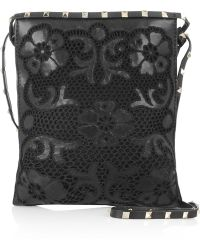 Valentino Leather and Crochet Shoulder Bag - Lyst