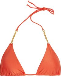 ViX Goldplated Chaintrimmed Padded Triangle Bikini Top - Lyst
