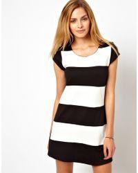 Wal-G Stripe Shift Dress - Black