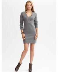 Banana Republic V Neck Sweater Dress - Lyst