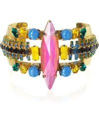 Erickson Beamon - Aquarela Do Brasil Golden Crystals Bangle Bracelet - Lyst