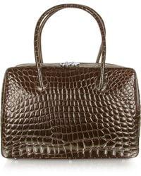 Giorgio Fedon Spiga - Dark Brown Croco Stamped Calfskin Business Bag