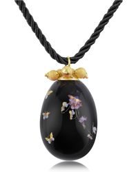 Naoto - Alchimia - Oval Gold Foil Pendant With Lace - Lyst