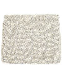 Nicole Miller Beaded Flap Clutch - Natural