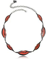 Sonia Rykiel Double Face Color Block Lips Long Necklace - Red