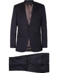 Spencer Hart Navy Shawlcollar Woolflannel Suit - Blue