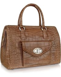 Buti - Front Pocket Brown Croco Stamped Leather Satchel Bag - Lyst
