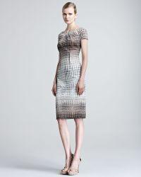 Lela Rose Square Print Stretch Cotton Dress - Lyst