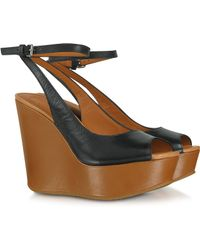 Marc By Marc Jacobs Sling Back Black and Tan Leather Wedge Sandals - Lyst