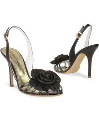 Mario Bologna - Black Leather Flower Slingback Sandal Shoes - Lyst