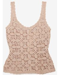 Exclusive For Intermix Zipper Back Lace Tank - Lyst