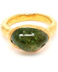Ram - 22K Gold Ring With Green Garnet - Lyst