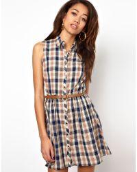 River Island Chelsea Girl Sleeveless Check Shirt Dress - Lyst