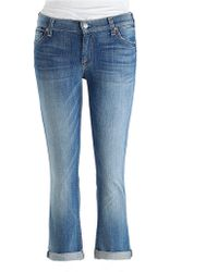 7 For All Mankind The Skinny Crop Roll Jeans - Lyst