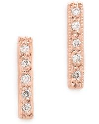 Blanca Monros Gomez Dainty Diamond Bar Stud Earrings - Rose Gold/white - Metallic