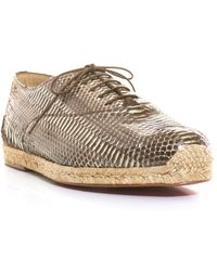 Christian Louboutin Espafred Watersnake Laceup Espadrilles brown - Lyst