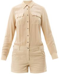 Elizabeth And James Leo Slouchy Shirt Playsuit beige - Lyst