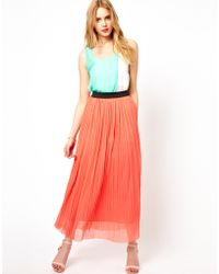 Love Pleated Maxi Skirt - Orange