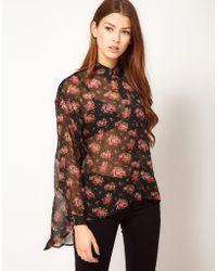 Max C Floral Chiffon Shirt - Black