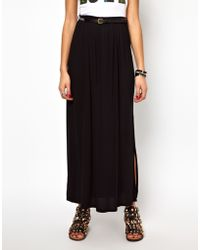 River Island Maxi Skirt with Aztec Belt - Black