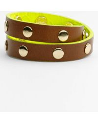 Tory Burch Embossed Leather Wrap Bracelet - Lyst