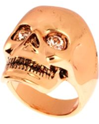 Wildfox Rose Gold Skull Ring with Swarovski Stone - Metallic