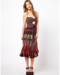 M Missoni Midi Dress in Peacock Knit with Cutout Front and Spaghetti Straps - Lyst