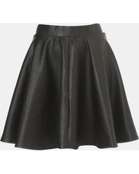 Topshop Andie Faux Leather Skater Skirt black - Lyst