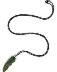 Nikos Koulis Black Rhodium Large Feather Necklace - Lyst