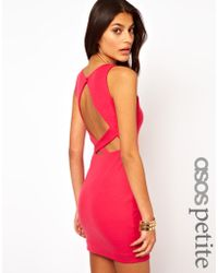 Asos Petite Exclusive Bodyconscious Dress with Low Cross Back - Lyst