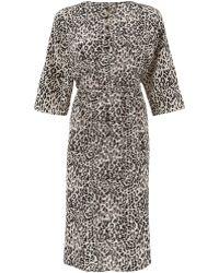 Tucker Black and White Leopard Print Silk Dress