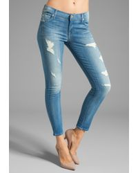 7 For All Mankind The Cropped Skinny in Destroyed Bright Indigo - Lyst