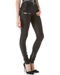 Anine Bing Stretch Leather Skinny Pants - Black - Lyst