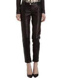 Balmain Skinny Leather Moto Pants - Lyst