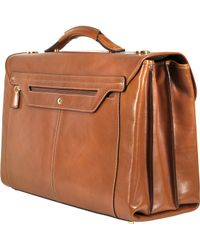 Bric's Life Leather Triple Gusset Laptop Briefcase - Brown