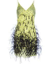 Meadham Kirchhoff Feather Embellished Chiffon Dress - Green