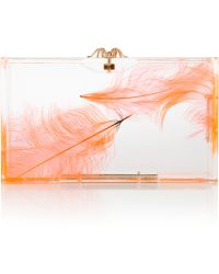 Charlotte Olympia Pandora Feather Perspex Clutch - Lyst
