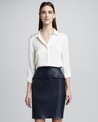 Elie Tahari Naomi Leather Peplum Skirt - Lyst