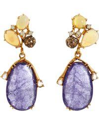 Federica Rettore - Opal Diamond Tanzanite Drop Earrings - Lyst